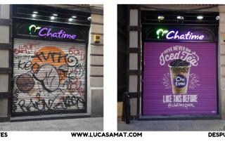 Graffiti en Ramblas de Barcelona