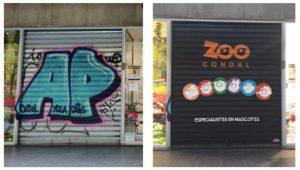 Persiana con logotipo Franquicia Zoo Condal
