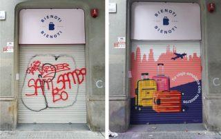 Antes y después de un graffiti artístico en la persiana de un comercio