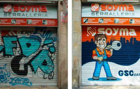 Graffitis comercios