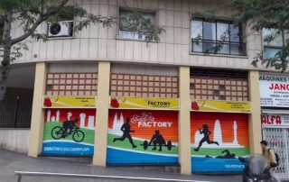 Graffiti para persianas en Barcelona Fitness factory
