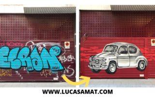 antes y después graffiti puerta de parking comunidad