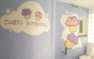 Decoracion Graffiti interior tienda Pastelería