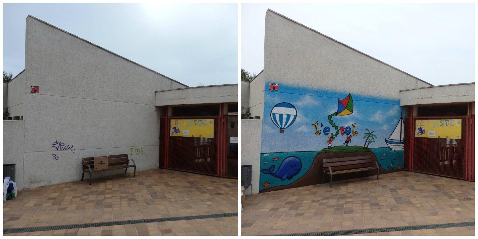 Decoración mural de graffiti Barcelona para Guarderia
