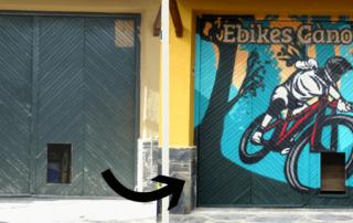 Graffiti profesional en persiana de comercio e-bikes canoves fotografia del antes y después